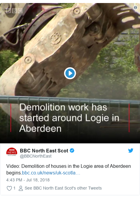 Twitter post by @BBCNorthEast: Video  Demolition of houses in the Logie area of Aberdeen begins.
