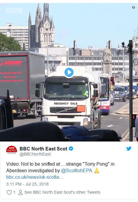 """Twitter post by @BBCNorthEast: Video  Not to be sniffed at ... strange """"Torry Pong"""" in Aberdeen investigated by @ScottishEPA 👃"""