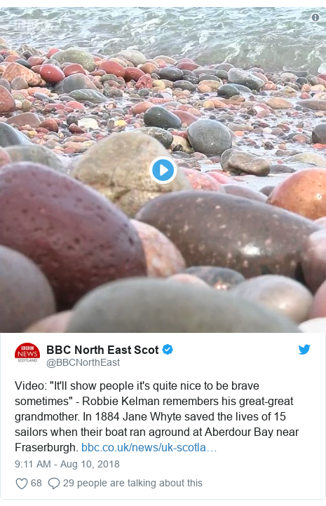 "Twitter post by @BBCNorthEast: Video  ""It'll show people it's quite nice to be brave sometimes"" - Robbie Kelman remembers his great-great grandmother. In 1884 Jane Whyte saved the lives of 15 sailors when their boat ran aground at Aberdour Bay near Fraserburgh."