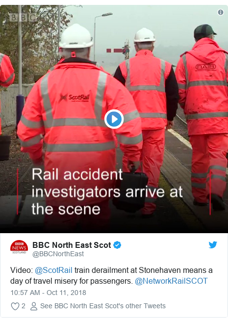 Twitter post by @BBCNorthEast: Video  @ScotRail train derailment at Stonehaven means a day of travel misery for passengers. @NetworkRailSCOT