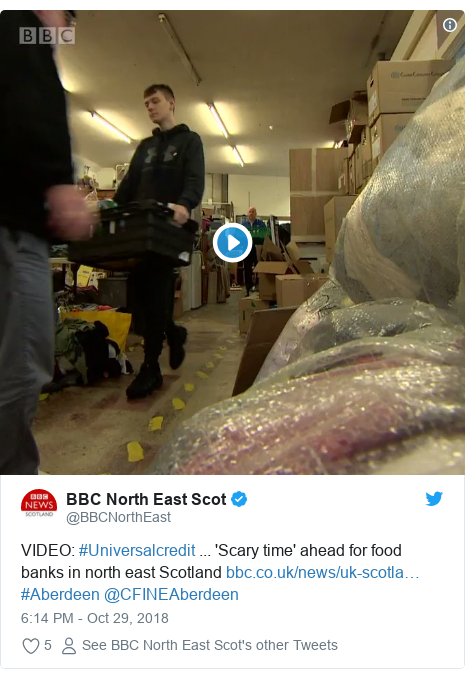 Twitter post by @BBCNorthEast: VIDEO  #Universalcredit ... 'Scary time' ahead for food banks in north east Scotland  #Aberdeen @CFINEAberdeen