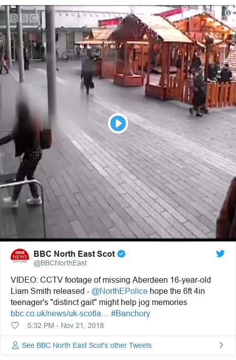 """Twitter post by @BBCNorthEast: VIDEO  CCTV footage of missing Aberdeen 16-year-old Liam Smith released - @NorthEPolice hope the 6ft 4in teenager's """"distinct gait"""" might help jog memories  #Banchory"""