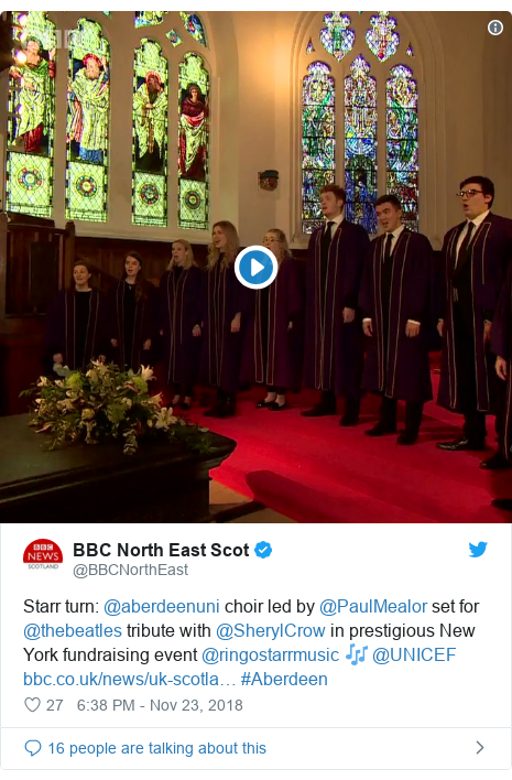 Twitter post by @BBCNorthEast: Starr turn  @aberdeenuni choir led by @PaulMealor set for @thebeatles tribute with @SherylCrow in prestigious New York fundraising event @ringostarrmusic 🎶 @UNICEF  #Aberdeen