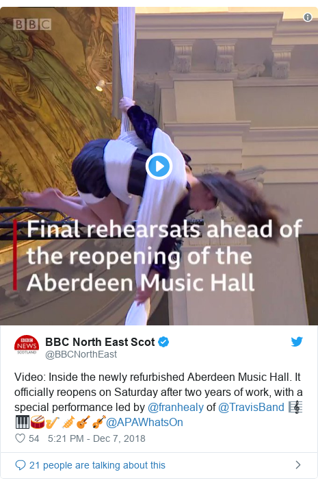 Twitter post by @BBCNorthEast: Video  Inside the newly refurbished Aberdeen Music Hall. It officially reopens on Saturday after two years of work, with a special performance led by @franhealy of @TravisBand 🎼🎹🥁🎷🎺🎸🎻@APAWhatsOn