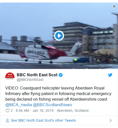 Twitter post by @BBCNorthEast: VIDEO  Coastguard helicopter leaving Aberdeen Royal Infirmary after flying patient in following medical emergency being declared on fishing vessel off Aberdeenshire coast @MCA_media @BBCScotlandNews