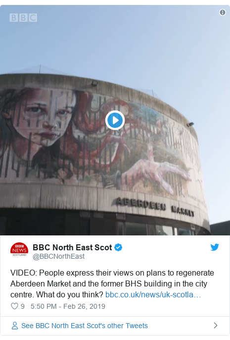 Twitter post by @BBCNorthEast: VIDEO  People express their views on plans to regenerate Aberdeen Market and the former BHS building in the city centre. What do you think?