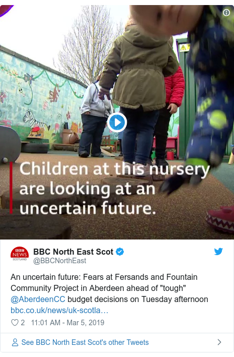 """Twitter post by @BBCNorthEast: An uncertain future  Fears at Fersands and Fountain Community Project in Aberdeen ahead of """"tough"""" @AberdeenCC budget decisions on Tuesday afternoon"""
