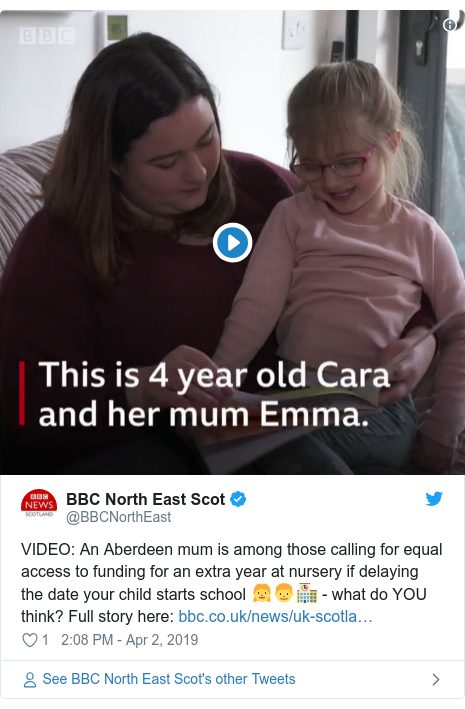 Twitter post by @BBCNorthEast: VIDEO  An Aberdeen mum is among those calling for equal access to funding for an extra year at nursery if delaying the date your child starts school 👧👦🏫 - what do YOU think? Full story here