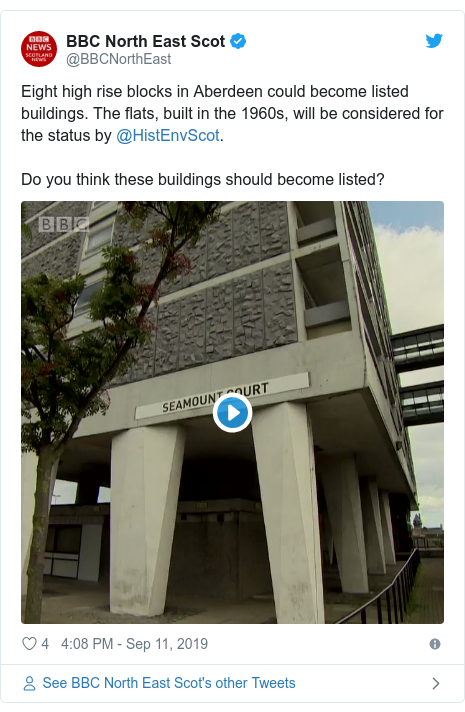 Twitter post by @BBCNorthEast: Eight high rise blocks in Aberdeen could become listed buildings. The flats, built in the 1960s, will be considered for the status by @HistEnvScot. Do you think these buildings should become listed?