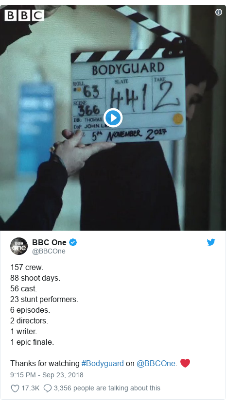 Twitter post by @BBCOne: 157 crew.88 shoot days.56 cast.23 stunt performers.6 episodes.2 directors.1 writer.1 epic finale. Thanks for watching #Bodyguard on @BBCOne. ❤️