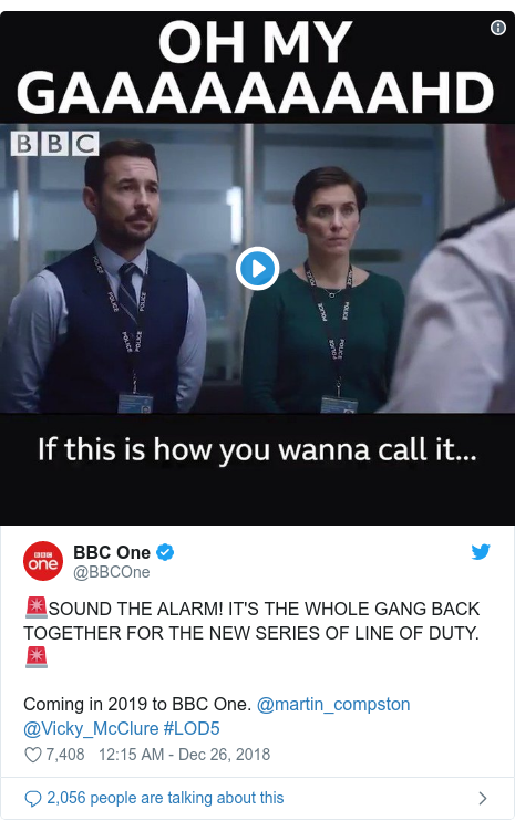 Twitter post by @BBCOne: 🚨SOUND THE ALARM! IT'S THE WHOLE GANG BACK TOGETHER FOR THE NEW SERIES OF LINE OF DUTY. 🚨Coming in 2019 to BBC One. @martin_compston @Vicky_McClure #LOD5