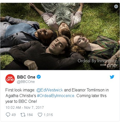 Twitter post by @BBCOne: First look image  @EdWestwick and Eleanor Tomlinson in Agatha Christie's #OrdealByInnocence. Coming later this year to BBC One!