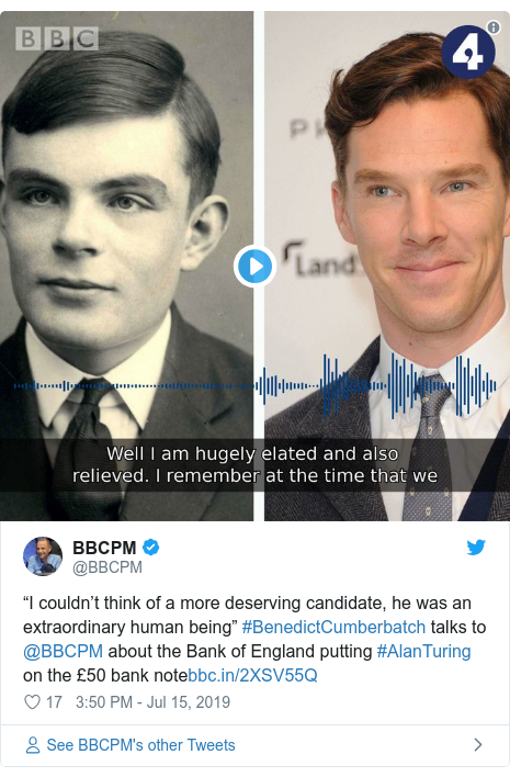 "Twitter post by @BBCPM: ""I couldn't think of a more deserving candidate, he was an extraordinary human being"" #BenedictCumberbatch talks to @BBCPM about the Bank of England putting #AlanTuring on the £50 bank note"