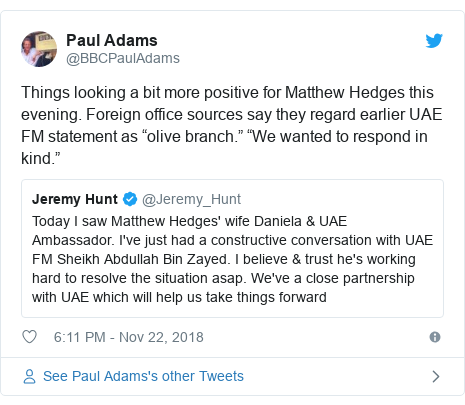 "Twitter post by @BBCPaulAdams: Things looking a bit more positive for Matthew Hedges this evening. Foreign office sources say they regard earlier UAE FM statement as ""olive branch."" ""We wanted to respond in kind."""
