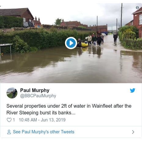 Twitter post by @BBCPaulMurphy: Several properties under 2ft of water in Wainfleet after the River Steeping burst its banks...
