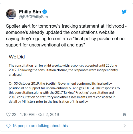 """Twitter post by @BBCPhilipSim: Spoiler alert for tomorrow's fracking statement at Holyrood - someone's already updated the consultations website saying they're going to confirm a """"final policy position of no support for unconventional oil and gas"""""""