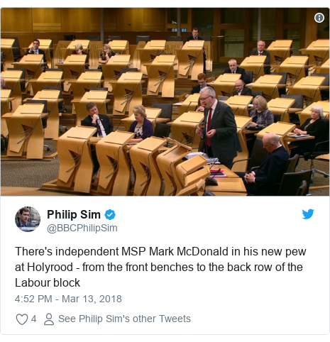 Twitter post by @BBCPhilipSim: There's independent MSP Mark McDonald in his new pew at Holyrood - from the front benches to the back row of the Labour block