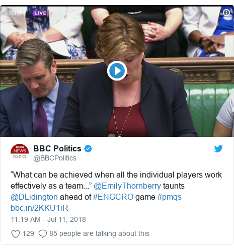 "Twitter post by @BBCPolitics: ""What can be achieved when all the individual players work effectively as a team..."" @EmilyThornberry taunts @DLidington ahead of #ENGCRO game #pmqs"