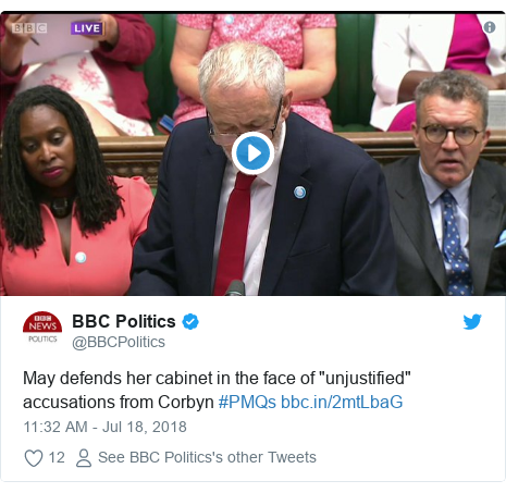 """Twitter post by @BBCPolitics: May defends her cabinet in the face of """"unjustified"""" accusations from Corbyn #PMQs"""