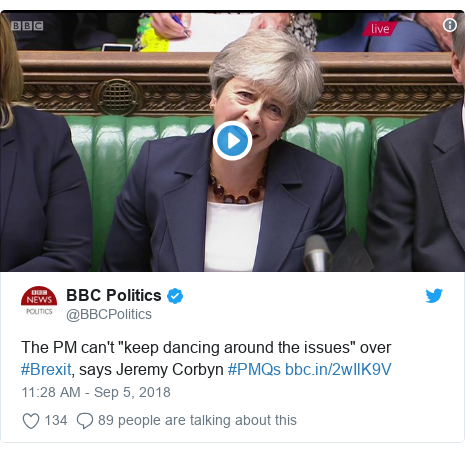 "Twitter post by @BBCPolitics: The PM can't ""keep dancing around the issues"" over #Brexit, says Jeremy Corbyn #PMQs"