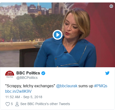 "Twitter post by @BBCPolitics: ""Scrappy, tetchy exchanges"" @bbclaurak sums up #PMQs"