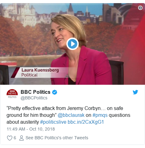 """Twitter post by @BBCPolitics: """"Pretty effective attack from Jeremy Corbyn… on safe ground for him though"""" @bbclaurak on #pmqs questions about austerity #politicslive"""