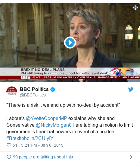 "Twitter post by @BBCPolitics: ""There is a risk... we end up with no-deal by accident""Labour's @YvetteCooperMP explains why she and Conservative @NickyMorgan01 are tabling a motion to limit government's financial powers in event of a no-deal #Brexit"