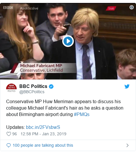 Twitter post by @BBCPolitics: Conservative MP Huw Merriman appears to discuss his colleague Michael Fabricant's hair as he asks a question about Birmingham airport during #PMQsUpdates