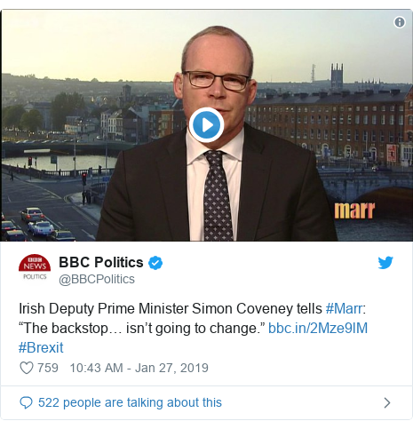 """Twitter post by @BBCPolitics: Irish Deputy Prime Minister Simon Coveney tells #Marr  """"The backstop… isn't going to change.""""  #Brexit"""