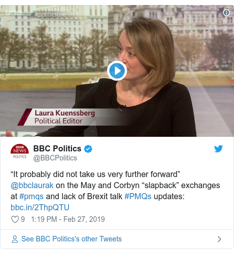 "Twitter post by @BBCPolitics: ""It probably did not take us very further forward"" @bbclaurak on the May and Corbyn ""slapback"" exchanges at #pmqs and lack of Brexit talk #PMQs updates"