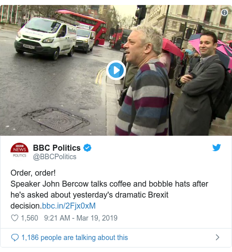 Twitter post by @BBCPolitics: Order, order!Speaker John Bercow talks coffee and bobble hats after he's asked about yesterday's dramatic Brexit decision.