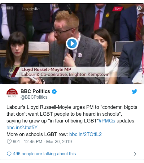 """Twitter post by @BBCPolitics: Labour's Lloyd Russell-Moyle urges PM to """"condemn bigots that don't want LGBT people to be heard in schools"""", saying he grew up """"in fear of being LGBT""""#PMQs updates  More on schools LGBT row"""