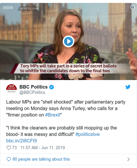 "Twitter post by @BBCPolitics: Labour MPs are ""shell shocked"" after parliamentary party meeting on Monday says Anna Turley, who calls for a ""firmer position on #Brexit""""I think the cleaners are probably still mopping up the blood- it was messy and difficult"" #politicslive"