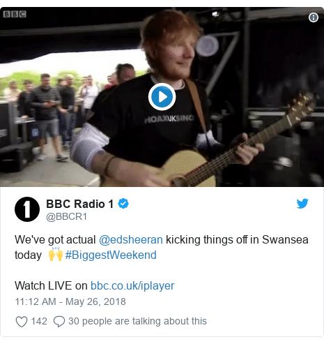 Twitter post by @BBCR1: We've got actual @edsheeran kicking things off in Swansea today  🙌 #BiggestWeekendWatch LIVE on