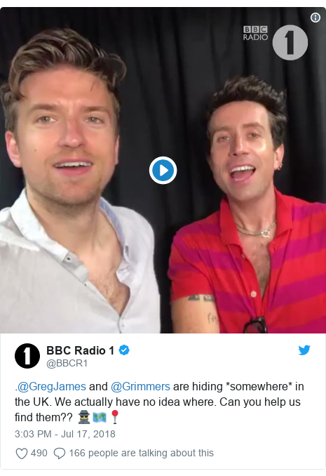 Twitter post by @BBCR1: .@GregJames and @Grimmers are hiding *somewhere* in the UK. We actually have no idea where. Can you help us find them?? 🕵️🗺️📍