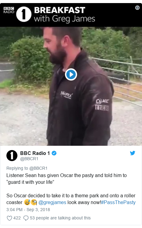 "Twitter post by @BBCR1: Listener Sean has given Oscar the pasty and told him to ""guard it with your life""So Oscar decided to take it to a theme park and onto a roller coaster 😅🧐 @gregjames look away now!#PassThePasty"