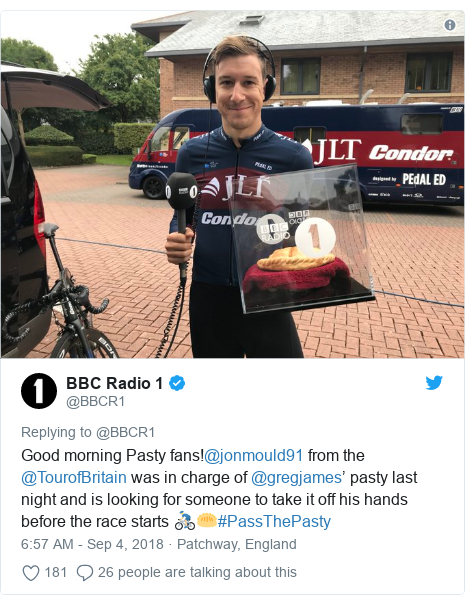 Twitter post by @BBCR1: Good morning Pasty fans!@jonmould91 from the @TourofBritain was in charge of @gregjames' pasty last night and is looking for someone to take it off his hands before the race starts 🚴🏼‍♂️🥟#PassThePasty