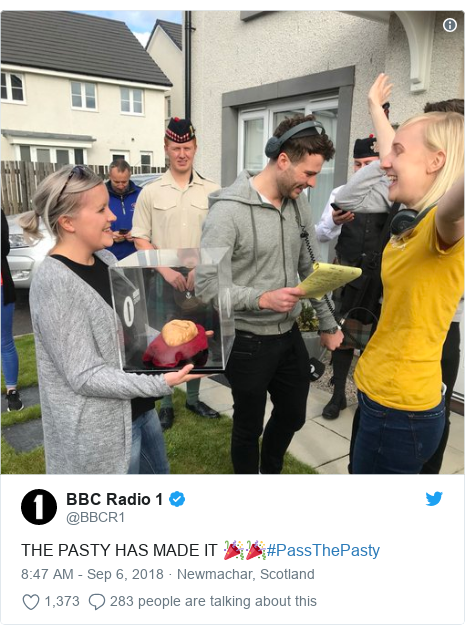 Twitter post by @BBCR1: THE PASTY HAS MADE IT 🎉🎉#PassThePasty