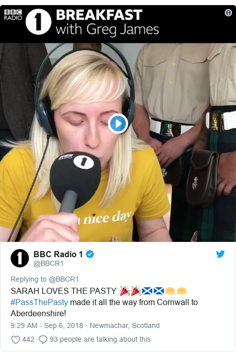 Twitter post by @BBCR1: SARAH LOVES THE PASTY 🎉🎉🏴󠁧󠁢󠁳󠁣󠁴󠁿🏴󠁧󠁢󠁳󠁣󠁴󠁿🥟🥟#PassThePasty made it all the way from Cornwall to Aberdeenshire!