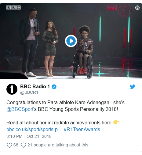 Twitter post by @BBCR1: Congratulations to Para-athlete Kare Adenegan - she's @BBCSport's BBC Young Sports Personality 2018!Read all about her incredible achievements here 👉  #R1TeenAwards