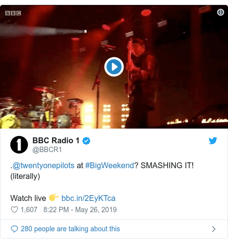 Twitter post by @BBCR1: .@twentyonepilots at #BigWeekend? SMASHING IT! (literally) Watch live 👉