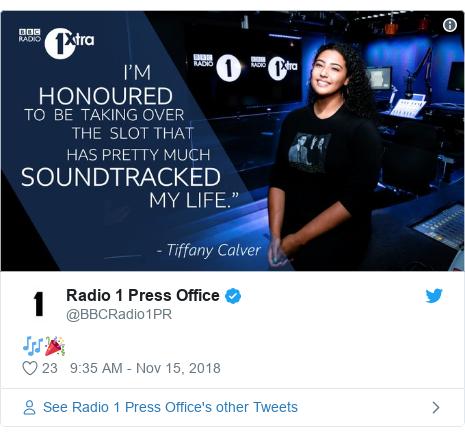 Twitter post by @BBCRadio1PR: 🎶🎉