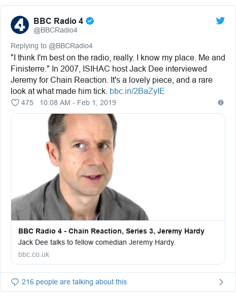 """Twitter post by @BBCRadio4: """"I think I'm best on the radio, really. I know my place. Me and Finisterre."""" In 2007, ISIHAC host Jack Dee interviewed Jeremy for Chain Reaction. It's a lovely piece, and a rare look at what made him tick."""
