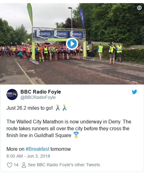 Twitter post by @BBCRadioFoyle: Just 26.2 miles to go! 🏃♀️🏃♂️The Walled City Marathon is now underway in Derry. The route takes runners all over the city before they cross the finish line in Guildhall Square 🏅 More on #Breakfast tomorrow