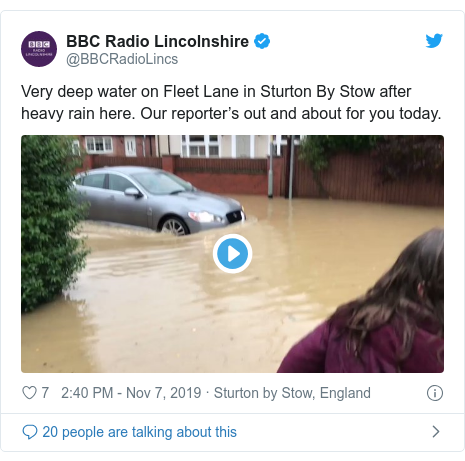 Twitter post by @BBCRadioLincs: Very deep water on Fleet Lane in Sturton By Stow after heavy rain here. Our reporter's out and about for you today.
