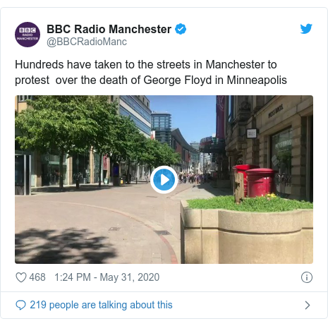Twitter post by @BBCRadioManc: Hundreds have taken to the streets in Manchester to protest  over the death of George Floyd in Minneapolis