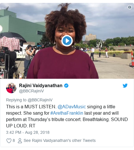Twitter post by @BBCRajiniV: This is a MUST LISTEN. @ADavMusic singing a little respect. She sang for #ArethaFranklin last year and will perform at Thursday's tribute concert. Breathtaking. SOUND UP LOUD. RT