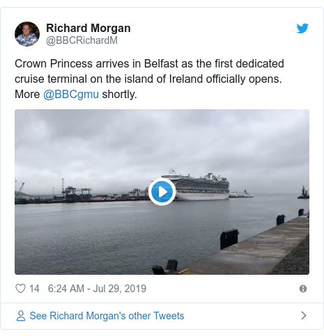 Twitter post by @BBCRichardM: Crown Princess arrives in Belfast as the first dedicated cruise terminal on the island of Ireland officially opens. More @BBCgmu shortly.