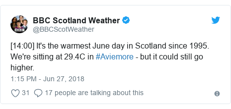 Twitter post by @BBCScotWeather: [14 00] It's the warmest June day in Scotland since 1995. We're sitting at 29.4C in #Aviemore - but it could still go higher.
