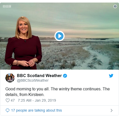 Twitter post by @BBCScotWeather: Good morning to you all. The wintry theme continues. The details, from Kirsteen.